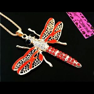 NWT BETSEY JOHNSON DRAGONFLY PENDANT NECKLACE XL